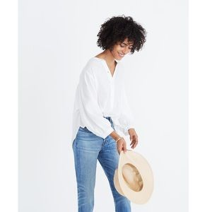 Madewell Shimmer Stripe Peasant Top